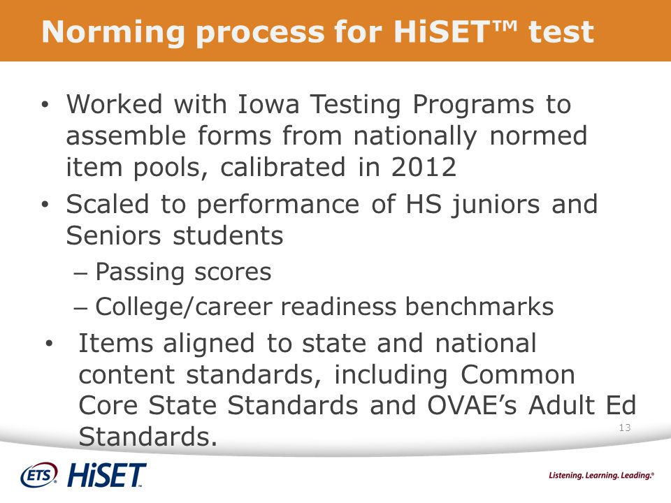 Norming process for HiSET™ test