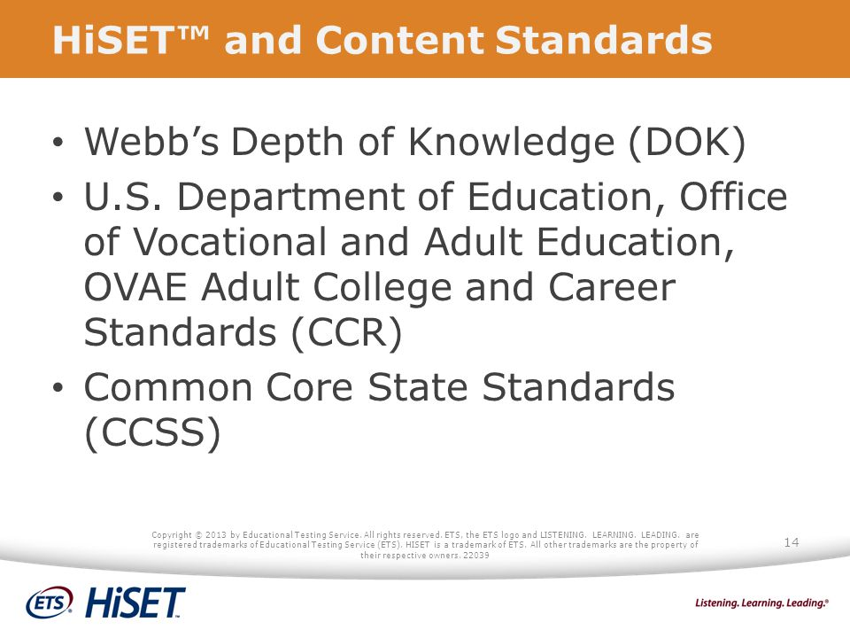 HiSET™ and Content Standards