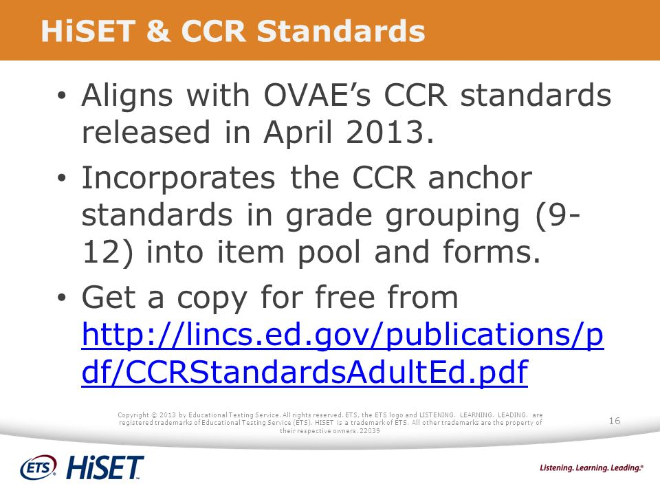 Aligns with OVAE's CCR standards released in April 2013.
