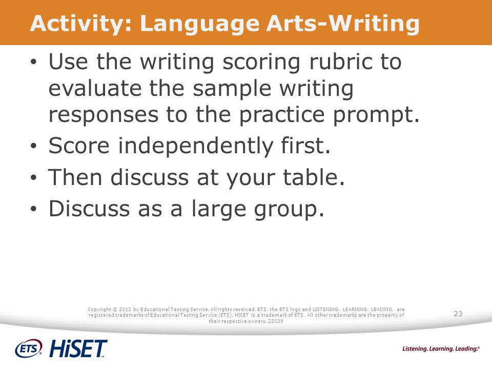 Activity: Language Arts-Writing