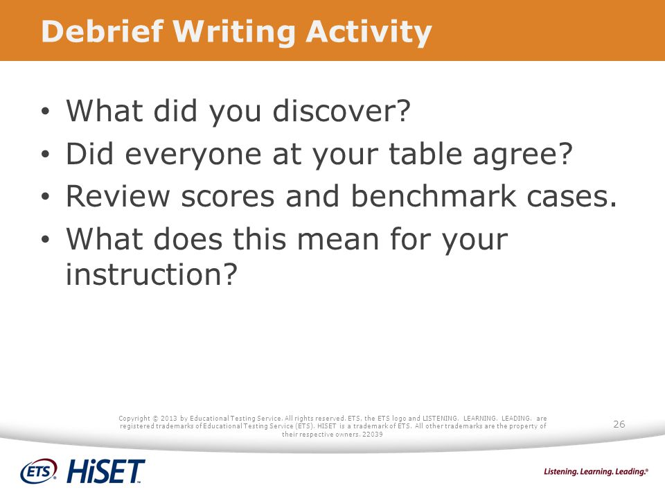 Debrief Writing Activity