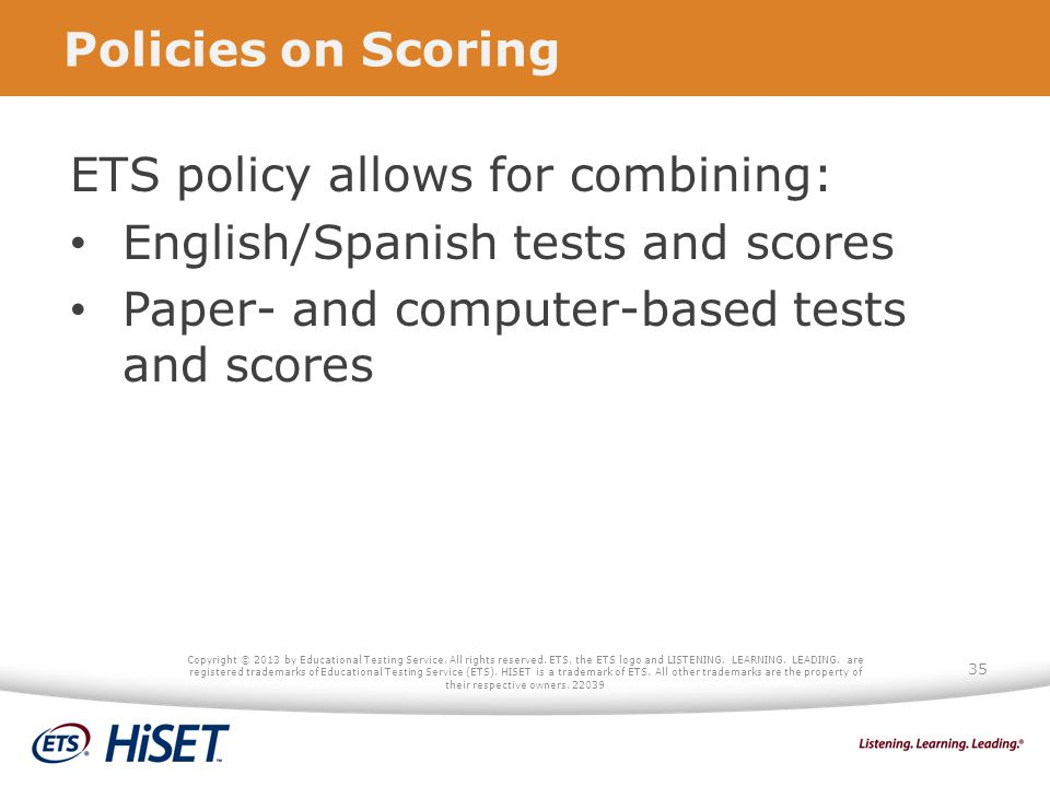 ETS policy allows for combining: English/Spanish tests and scores