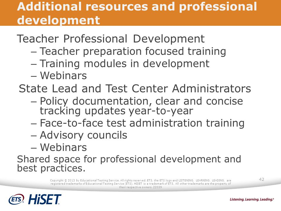 Additional resources and professional development