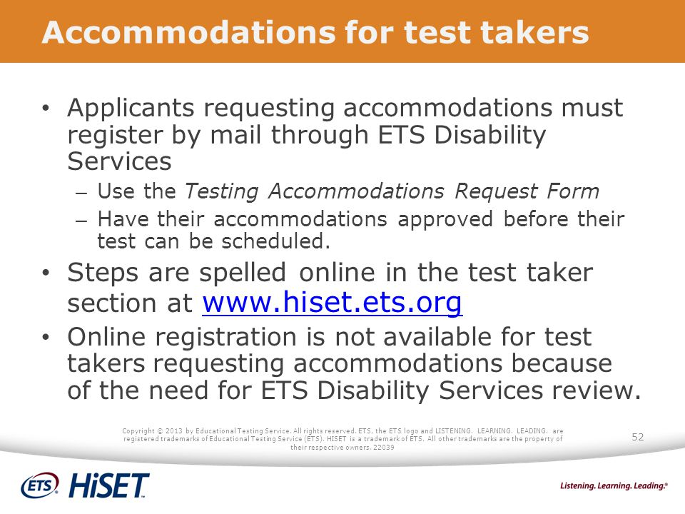 Accommodations for test takers