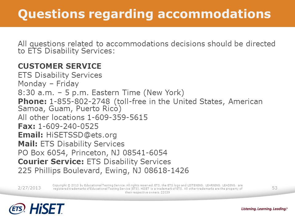 Questions regarding accommodations