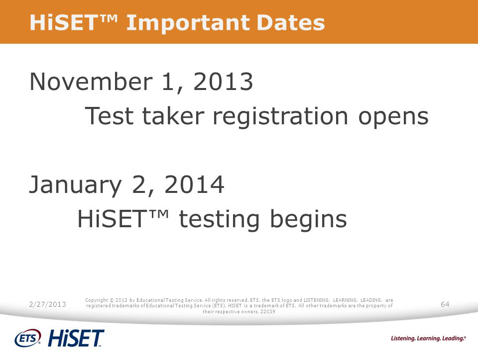 HiSET™ Important Dates