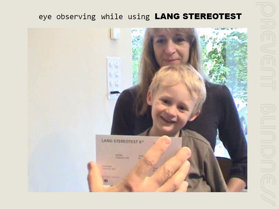 eye observing while using LANG STEREOTEST