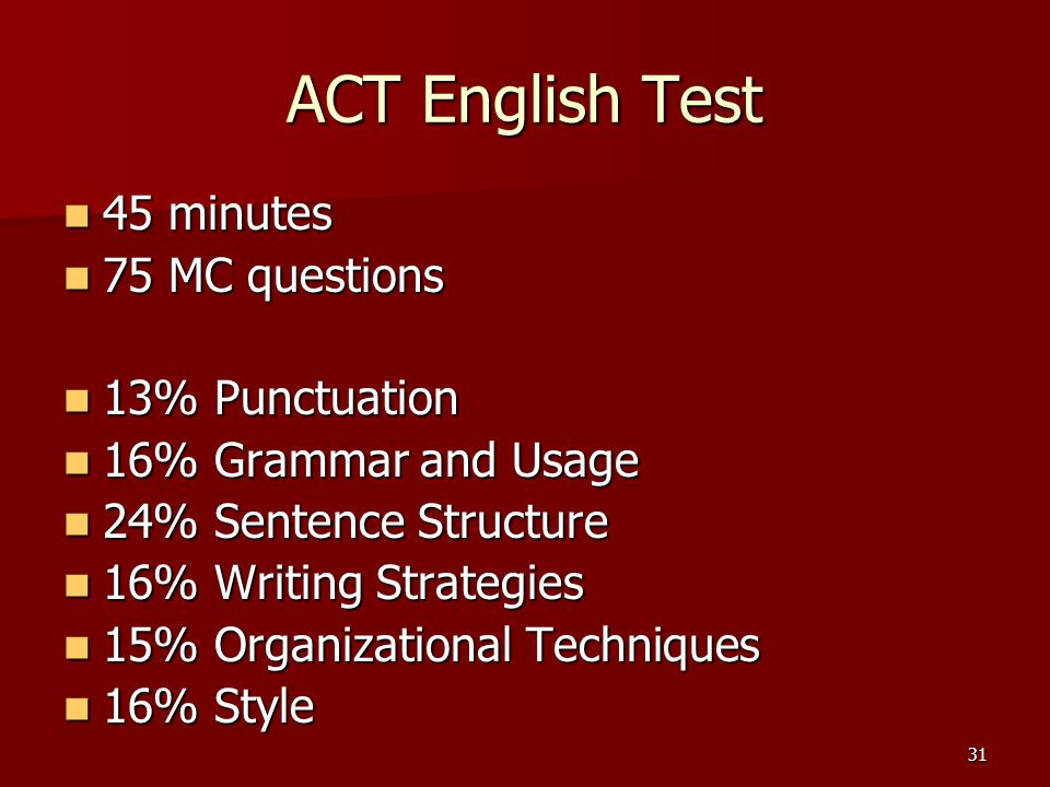 ACT English Test 45 minutes 75 MC questions 13% Punctuation