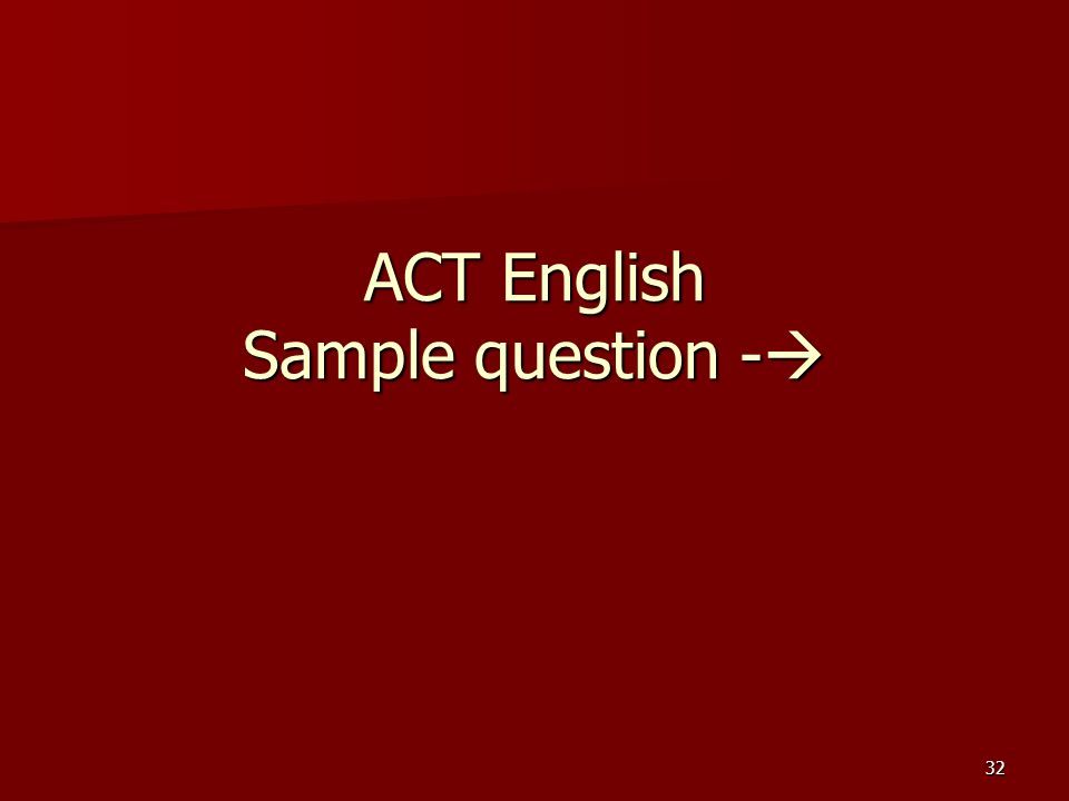 ACT English Sample question -