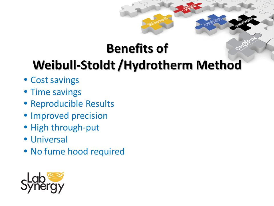 Benefits of Weibull-Stoldt /Hydrotherm Method