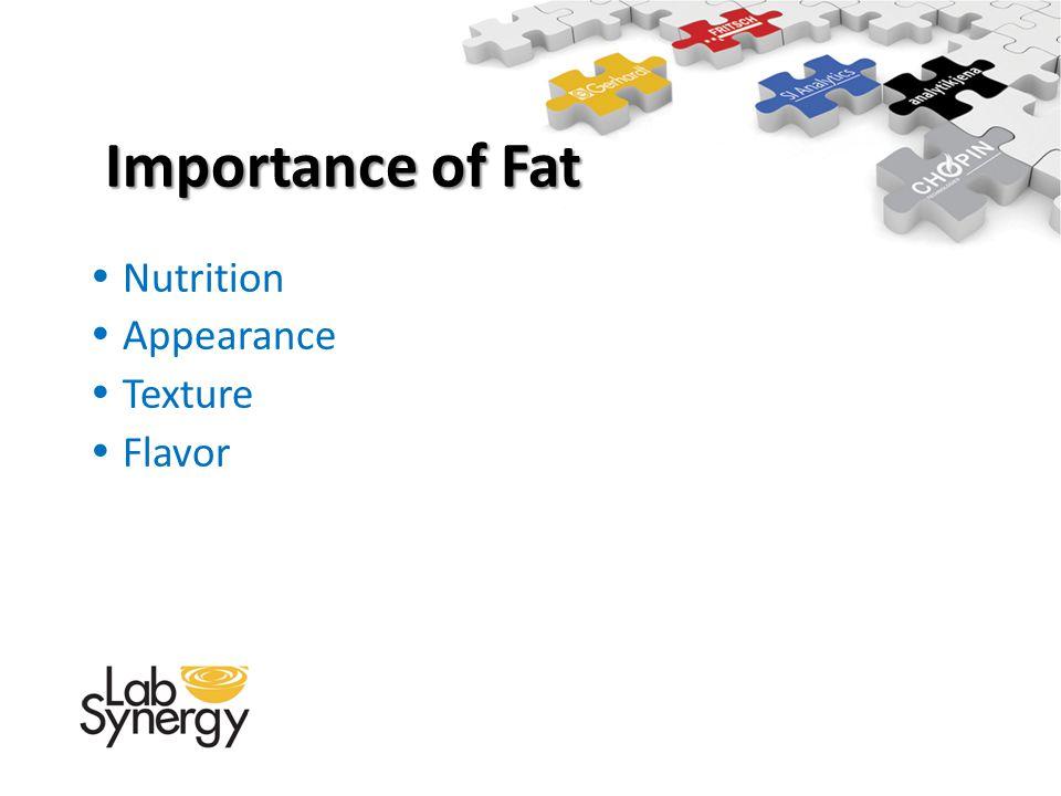 Nutrition Appearance Texture Flavor