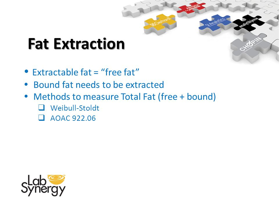 Fat Extraction Extractable fat = free fat