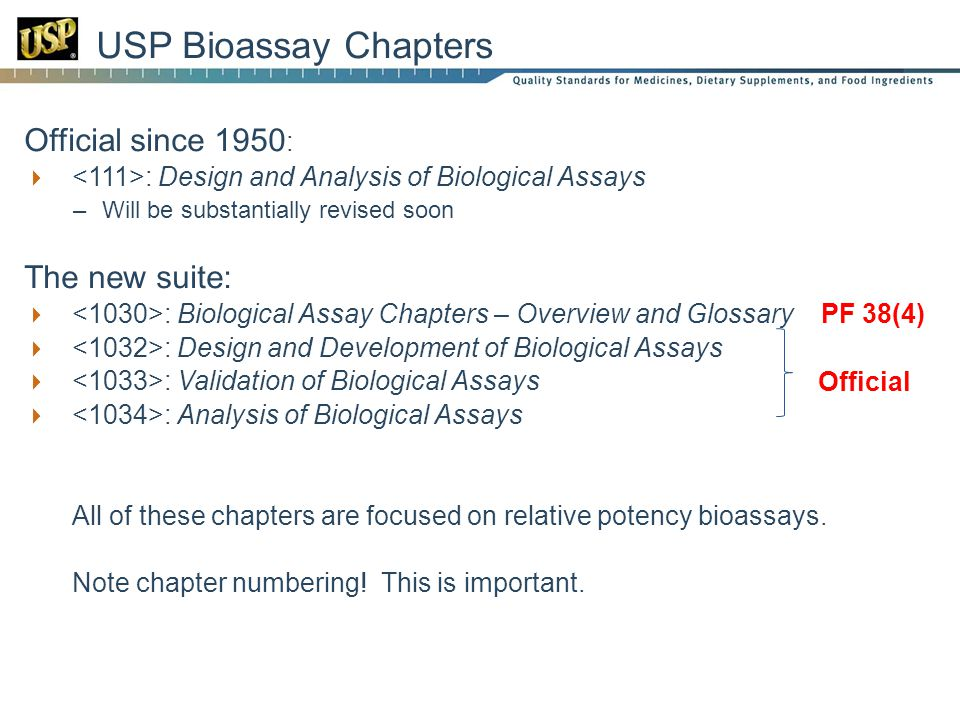 USP Bioassay Chapters Official since 1950: The new suite: