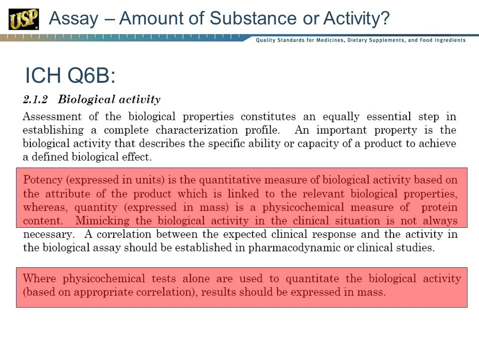 Assay – Amount of Substance or Activity