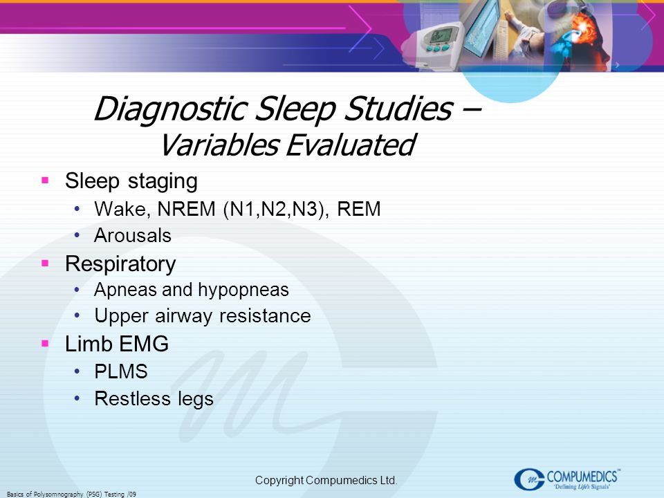 Diagnostic Sleep Studies – Variables Evaluated