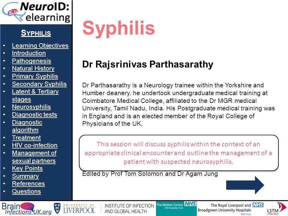 Syphilis Dr Rajsrinivas Parthasarathy Syphilis