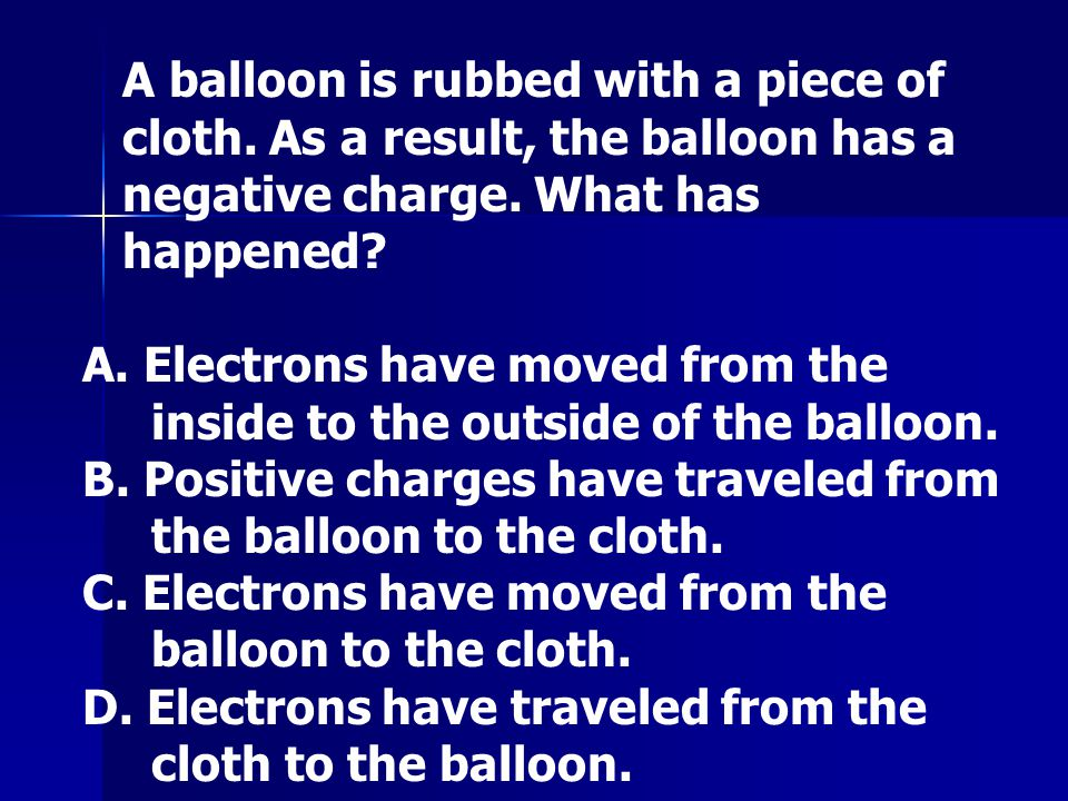 A balloon is rubbed with a piece of cloth
