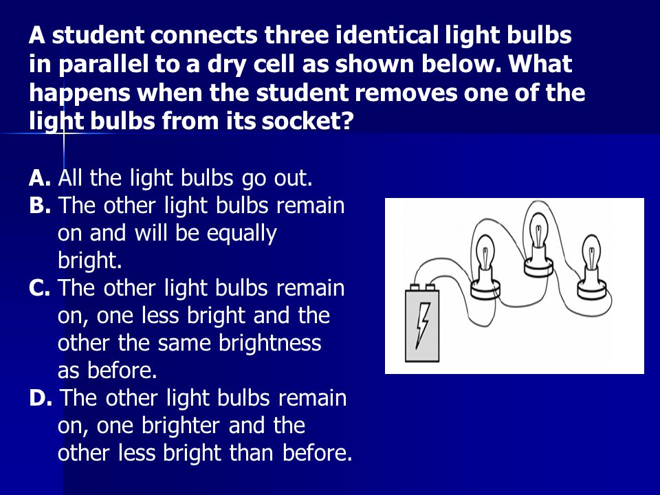 A student connects three identical light bulbs in parallel to a dry cell as shown below. What happens when the student removes one of the light bulbs from its socket