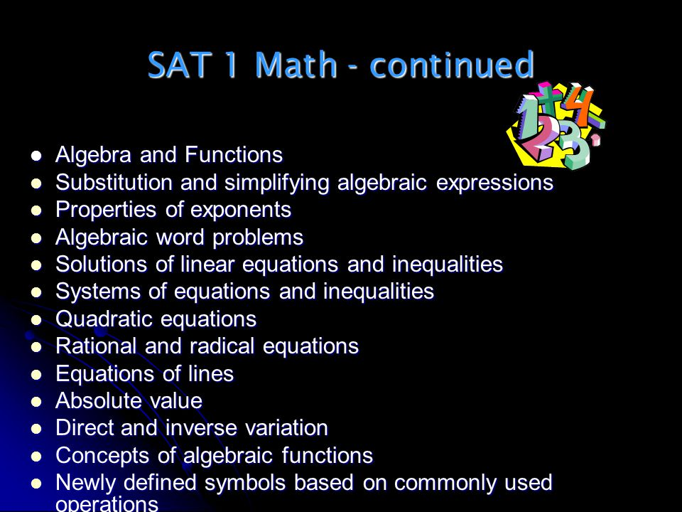 SAT 1 Math - continued Algebra and Functions