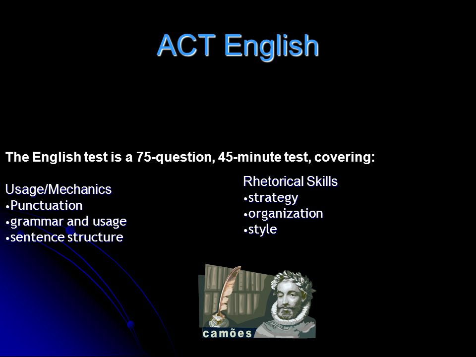 ACT English Rhetorical Skills Usage/Mechanics strategy Punctuation