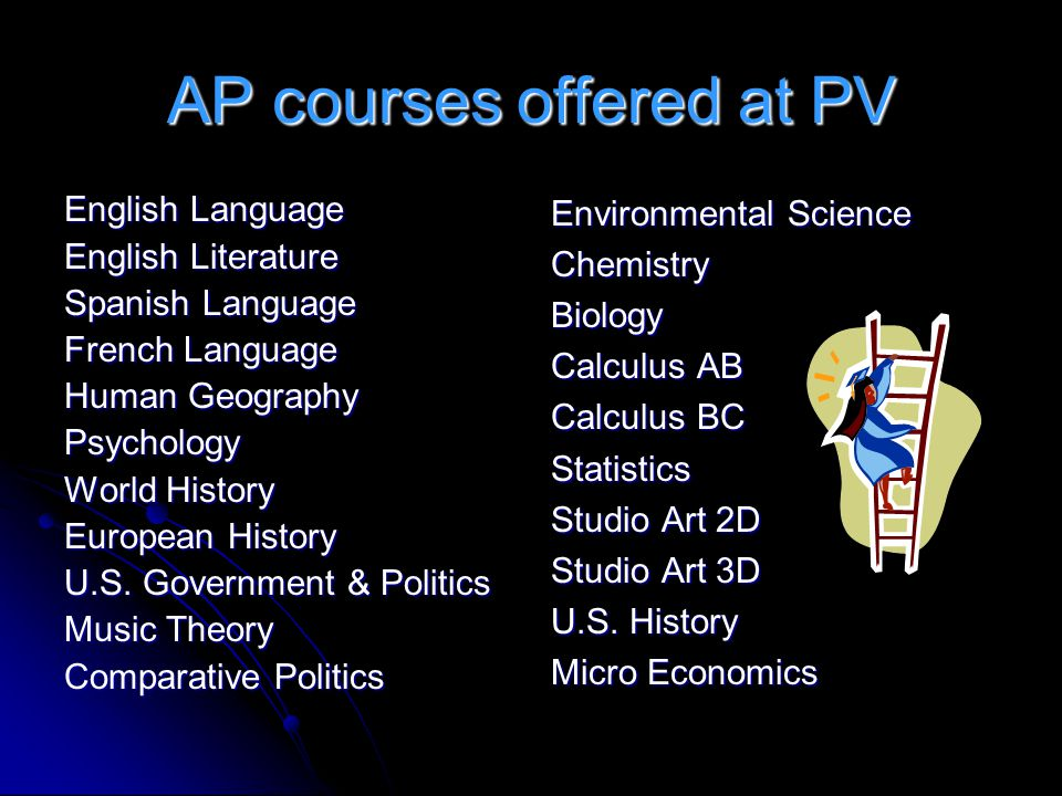 AP courses offered at PV