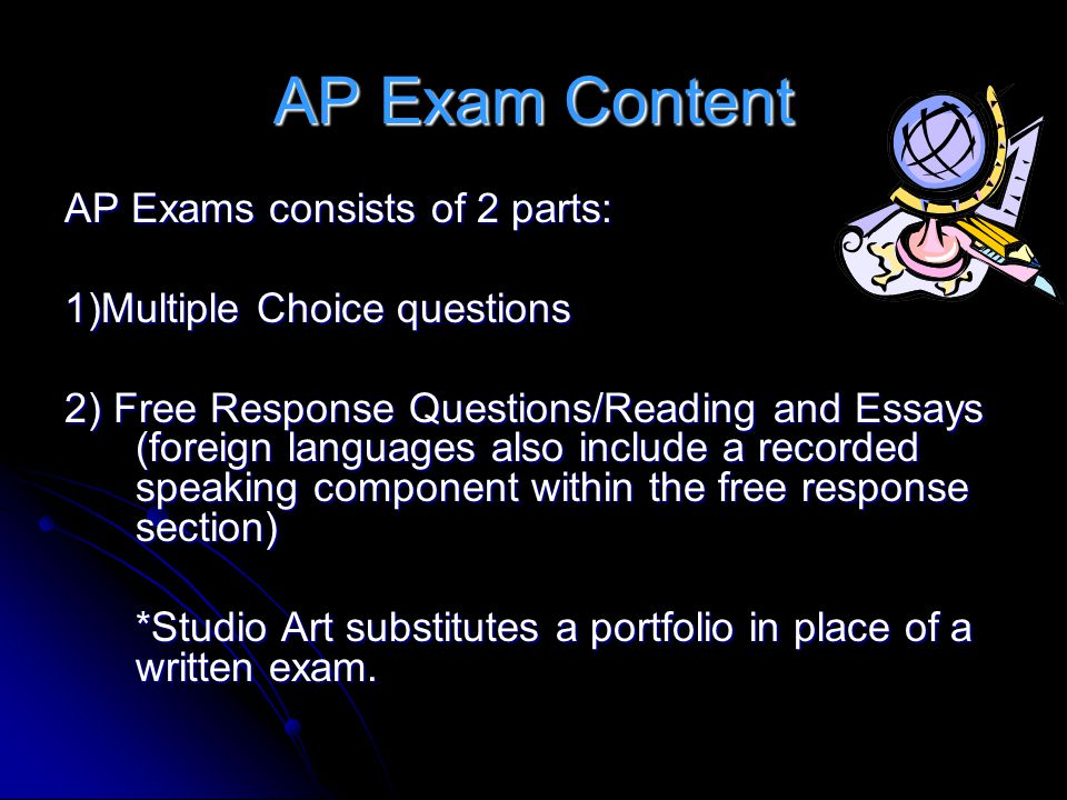 AP Exam Content AP Exams consists of 2 parts:
