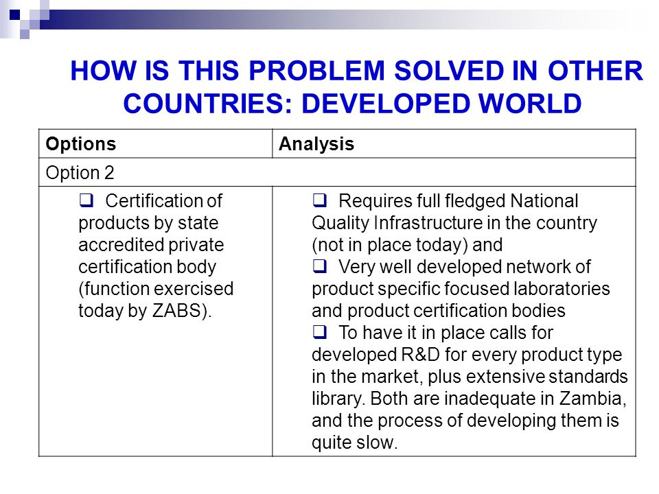HOW IS THIS PROBLEM SOLVED IN OTHER COUNTRIES: DEVELOPED WORLD