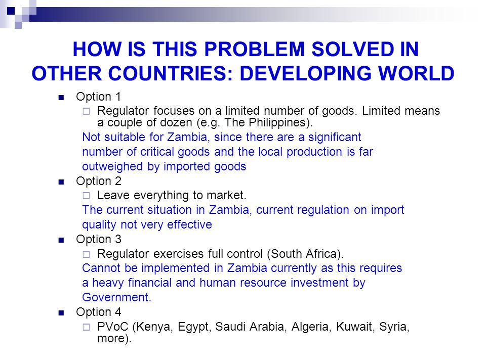 HOW IS THIS PROBLEM SOLVED IN OTHER COUNTRIES: DEVELOPING WORLD