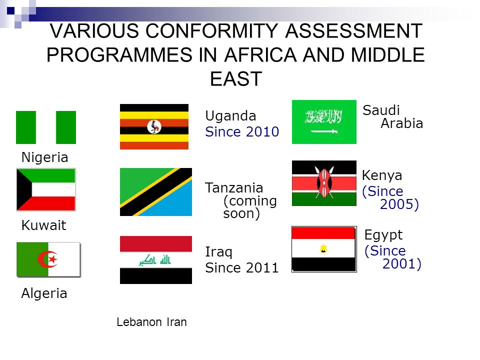 VARIOUS CONFORMITY ASSESSMENT PROGRAMMES IN AFRICA AND MIDDLE EAST
