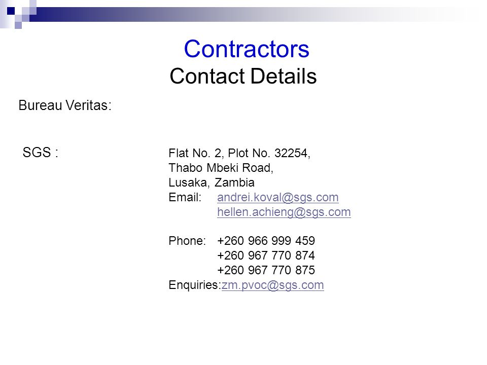 Contractors Contact Details