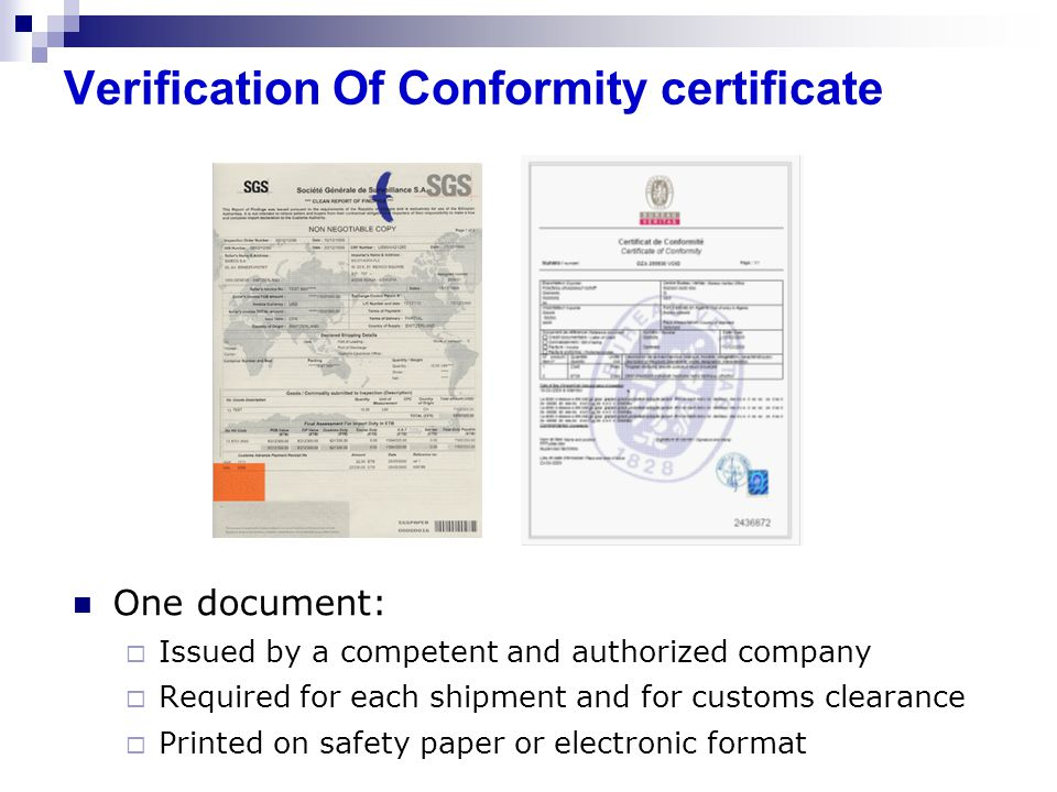 Verification Of Conformity certificate