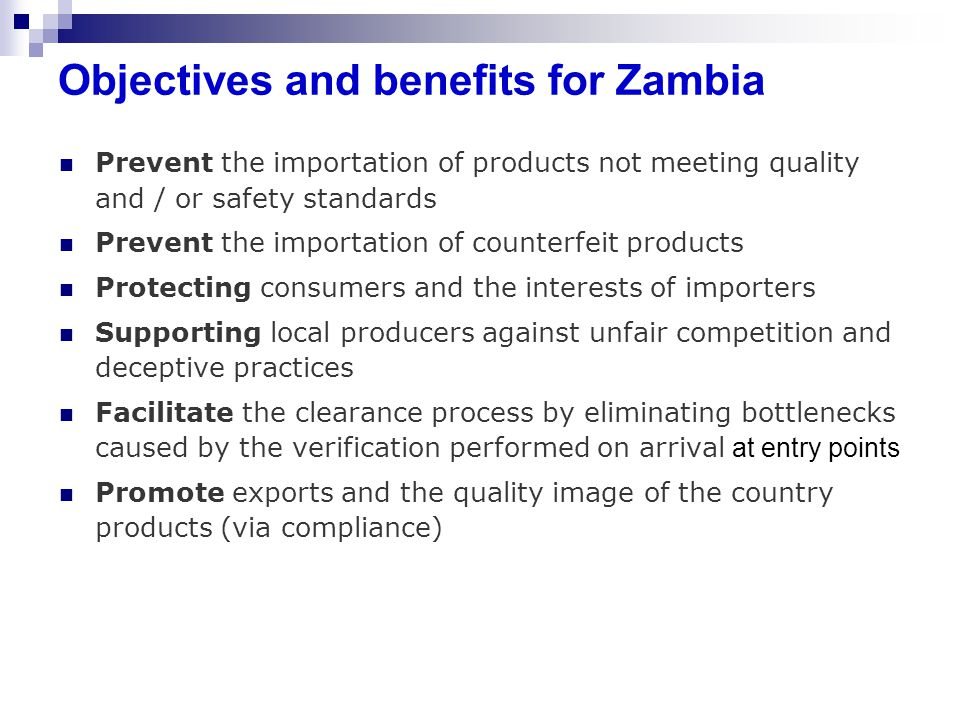 Objectives and benefits for Zambia