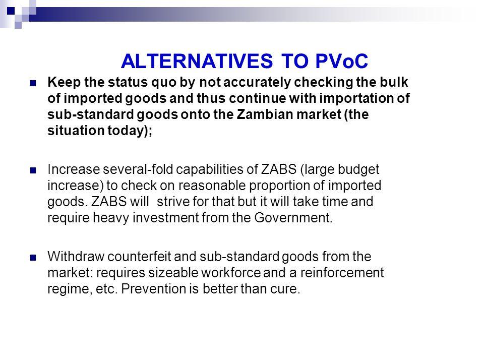 ALTERNATIVES TO PVoC