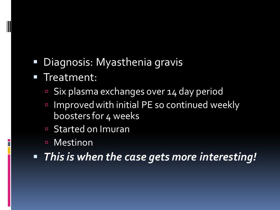 Diagnosis: Myasthenia gravis Treatment: