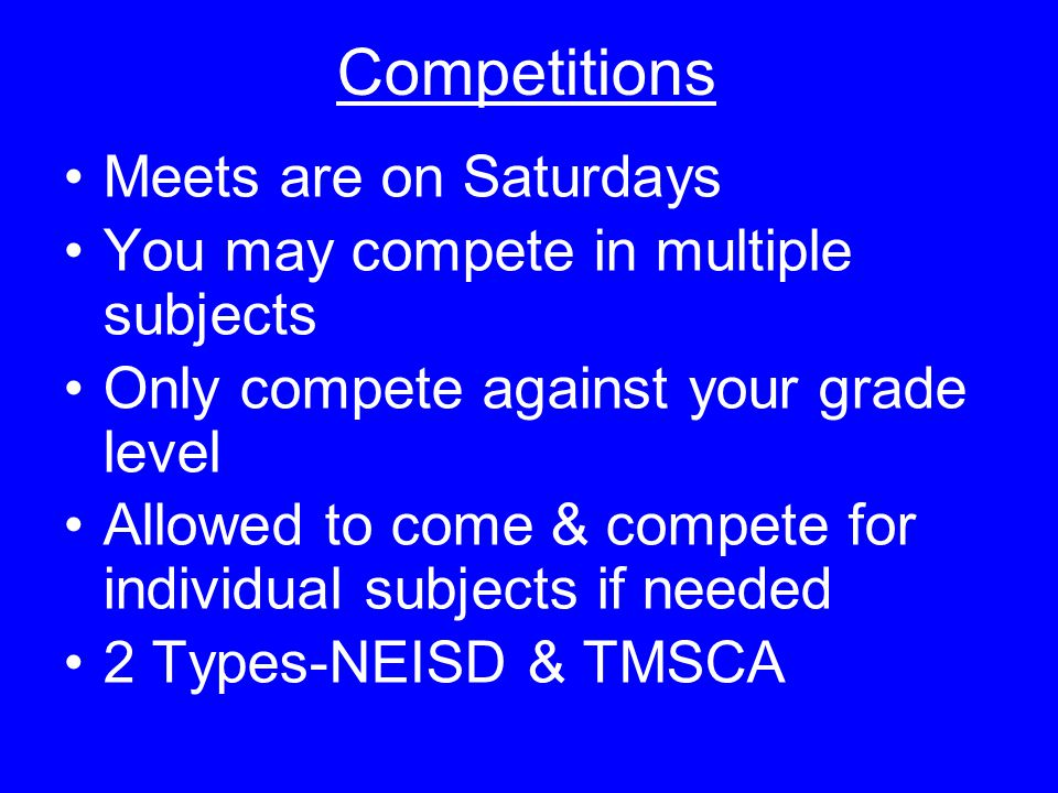 Competitions Meets are on Saturdays