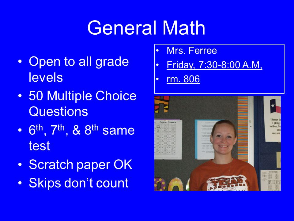 General Math Open to all grade levels 50 Multiple Choice Questions