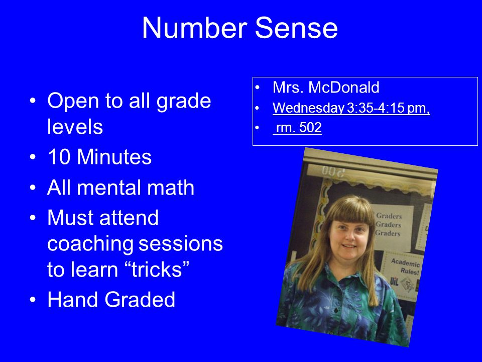 Number Sense Open to all grade levels 10 Minutes All mental math