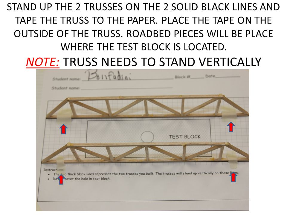 STAND UP THE 2 TRUSSES ON THE 2 SOLID BLACK LINES AND TAPE THE TRUSS TO THE PAPER.