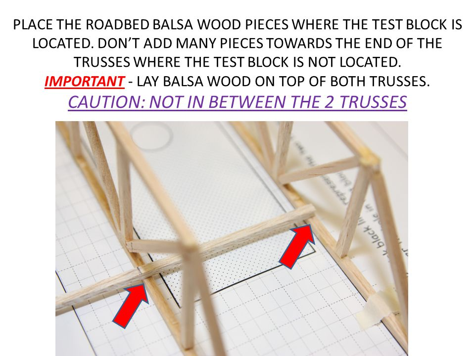 PLACE THE ROADBED BALSA WOOD PIECES WHERE THE TEST BLOCK IS LOCATED