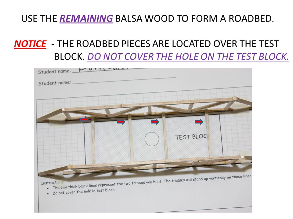 USE THE REMAINING BALSA WOOD TO FORM A ROADBED