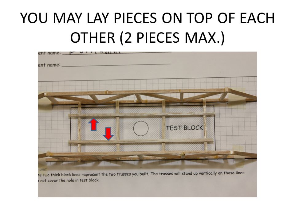 YOU MAY LAY PIECES ON TOP OF EACH OTHER (2 PIECES MAX.)
