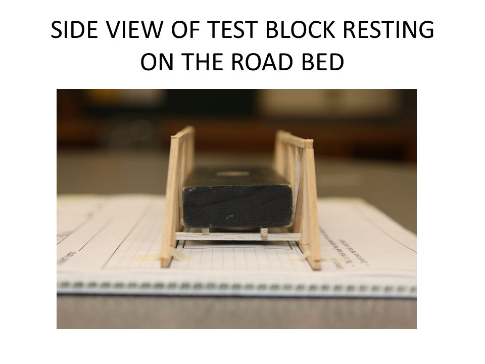 SIDE VIEW OF TEST BLOCK RESTING ON THE ROAD BED