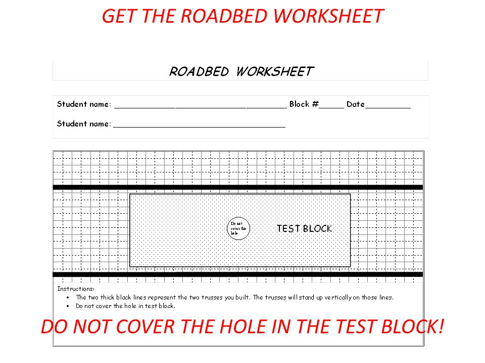 GET THE ROADBED WORKSHEET