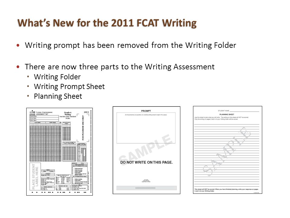 What's New for the 2011 FCAT Writing