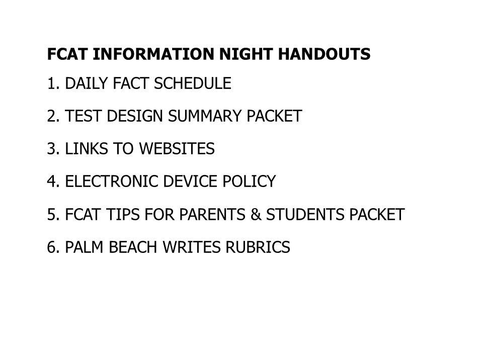 FCAT INFORMATION NIGHT HANDOUTS