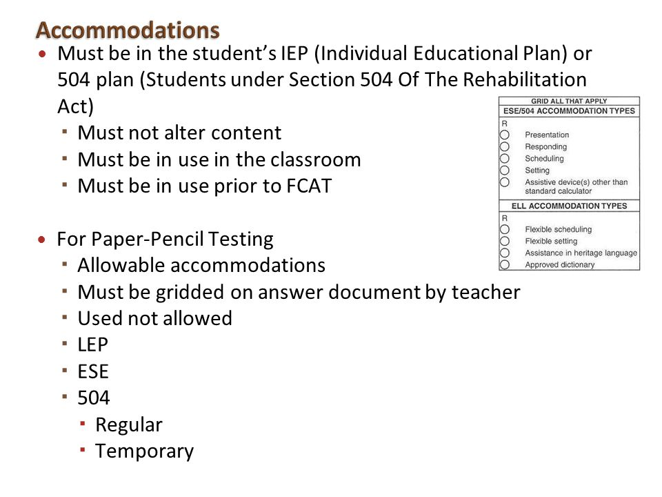 Accommodations Must be in the student's IEP (Individual Educational Plan) or 504 plan (Students under Section 504 Of The Rehabilitation Act)