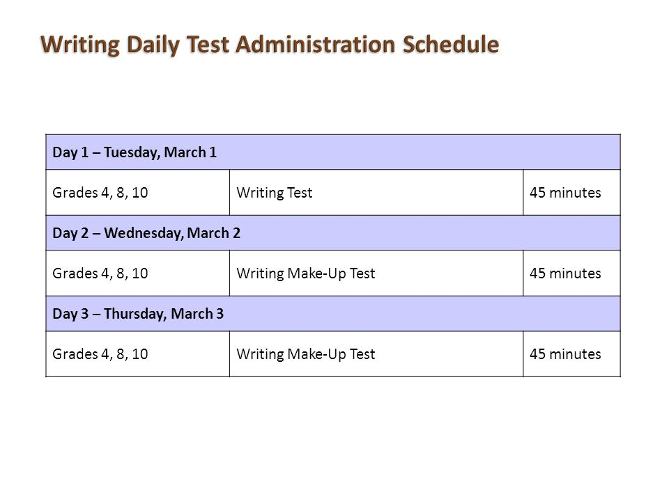 Writing Daily Test Administration Schedule