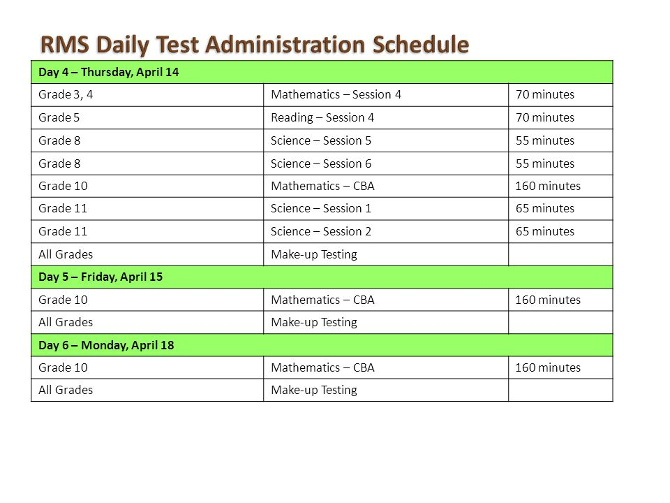RMS Daily Test Administration Schedule