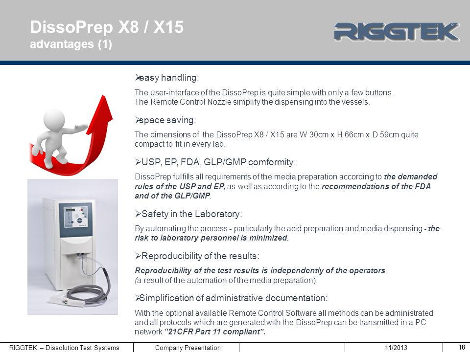 DissoPrep X8 / X15 advantages (1) easy handling: space saving: