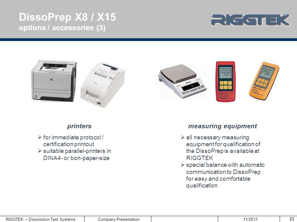 DissoPrep X8 / X15 options / accessories (3) printers